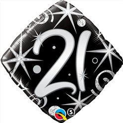 "21st Birthday Elegant Sparkles & Swirls Balloon - 18"" Foil"