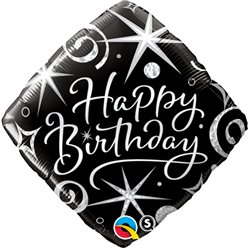 "Happy Birthday Elegant Sparkles Diamond Balloon - 18"" Foil"