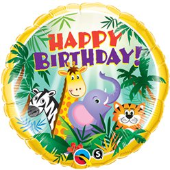 "Happy Birthday Jungle Friends Balloon - 18"" Foil"