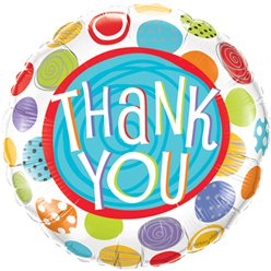 "Thank You Patterned Dots Design Balloon - 18"" Foil"