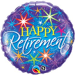 "Happy Retirement Colourful Bursts Balloon - 18"" Foil"