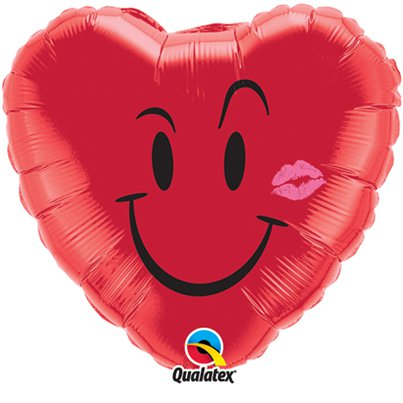 "Valentines Naughty Smile & Kiss Red Heart Shaped Balloon - 18"" Foil"