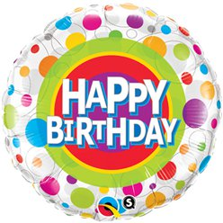 "Happy Birthday Colourful Dots Round Balloon - 18"" Foil"