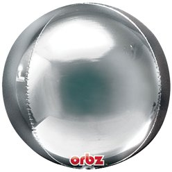 "Silver Orbz Balloon - 16"" Foil - Unpackaged"