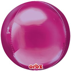 "Bright Pink Orbz Balloon - 16"" Foil - Unpackaged"