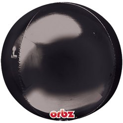 "Black Orbz Balloon - 16"" Foil - Unpackaged"