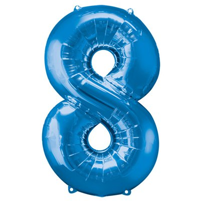 "Blue Number 8 Balloon - 34"" Foil"