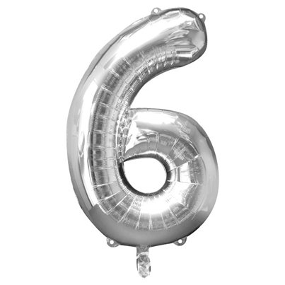 "Silver Number 6 Balloon - 34"" Foil"