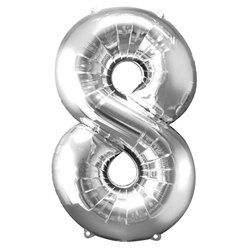 "Silver Number 8 Balloon - 34"" Foil"