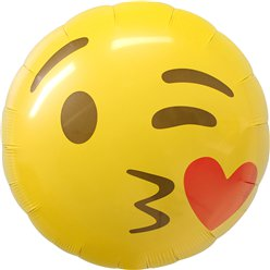 "Emoji Kissing Heart Balloon - 18"" Foil"