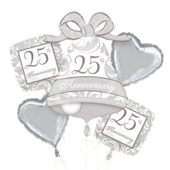 25th Silver Wedding Anniversary Balloon Bouquet - Assorted Foil