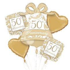 50th Gold Wedding Anniversary Balloon Bouquet - Assorted Foil