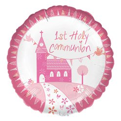 "First Holy Communion Pink Balloon - 18"" Foil"