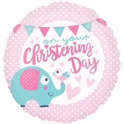 "Pink Christening Day Balloon - 18"" Foil"