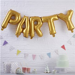 "Pick & Mix Party Gold Balloon Bunting - 12"" Foil"