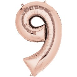 Rose Gold Number 9 Balloon - 34 Foil