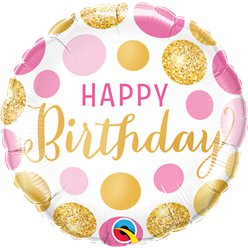 "Happy Birthday Pink Gold Dots Balloon - 18"" Foil"