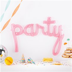 "Party Clear Pink Script Phrase Balloon - 44"" Foil"