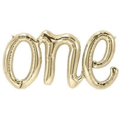 One White Gold Script Phrase Balloon