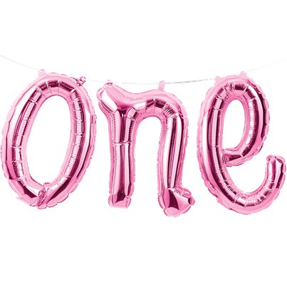 Age One Pink Phrase Balloon Bunting