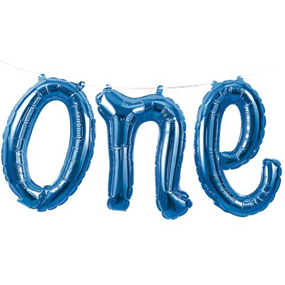 "Age One Blue Phrase Balloon Bunting - 12"" Foil"