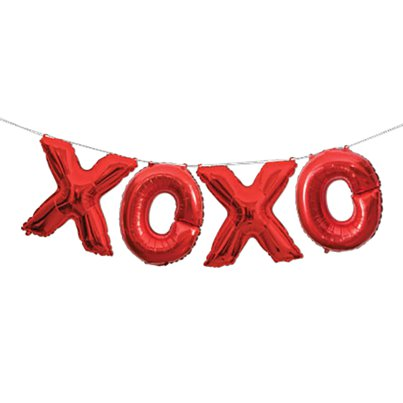 "XOXO Red Phrase Balloon Bunting - 14"" Foil"