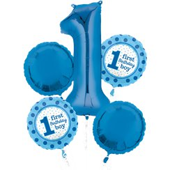 1st Birthday Boy Balloon Bouquet - Assorted Foil