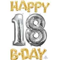 'Happy 18th Birthday' Gold & Silver Foil Balloons - 26""