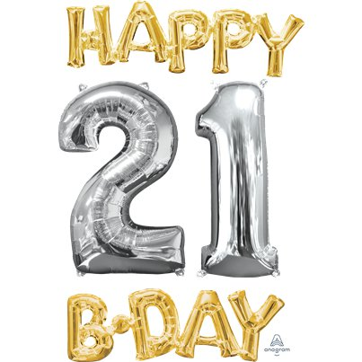 'Happy 21st Birthday' Gold & Silver Foil Balloons - 26""
