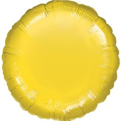 "Yellow Round Balloon - 18"" Foil - unpackaged"