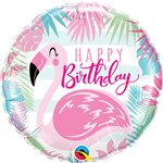 "Happy Birthday Pink Flamingo Foil Balloon - 18"" Balloon"