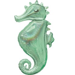 "Mermaid Wishes Seahorse SuperSize Balloon - 38"" Foil"