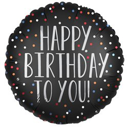 "Black Satin Dots Happy Birthday Balloon - 18"" Foil"