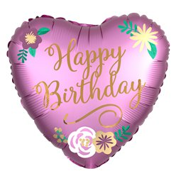 "Birthday Satin Heart Balloon - 18"" Foil"