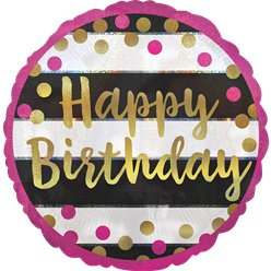 "Pink & Gold Happy Birthday Balloon - 18"" Foil"