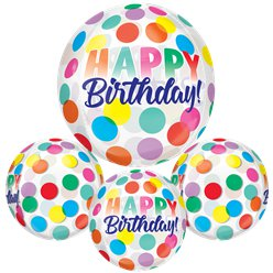"Happy Birthday Big Dots Orbz Balloon - 16"" Foil"