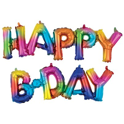 Happy Birthday Rainbow Splash Phrase Foil Balloons