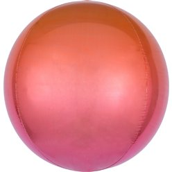 "Ombre Red & Orange Orbz Balloon - 16"" Foil"