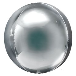 "Jumbo Silver Orbz Balloon - 21"" Foil - Unpackaged"
