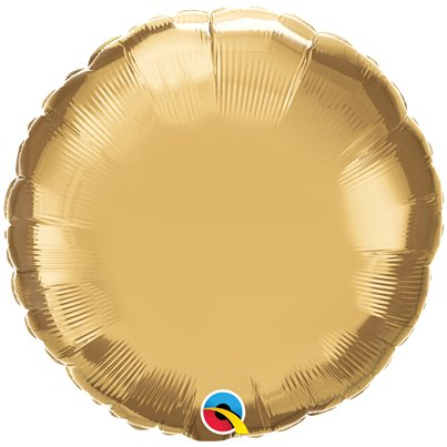 "Gold Chrome Round Balloon - 18"" Foil - Unpackaged"