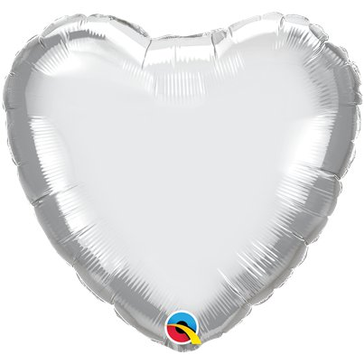 "Silver Chrome Heart Balloon - 18"" Foil - Unpackaged"
