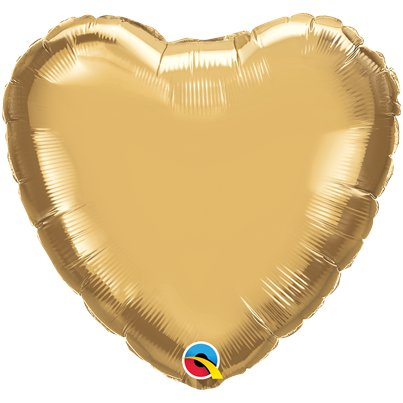 "Gold Chrome Heart Balloon - 18"" Foil - Unpackaged"
