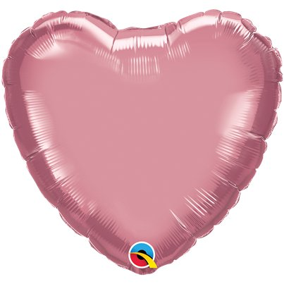 "Mauve Chrome Heart Balloon - 18"" Foil - Unpackaged"