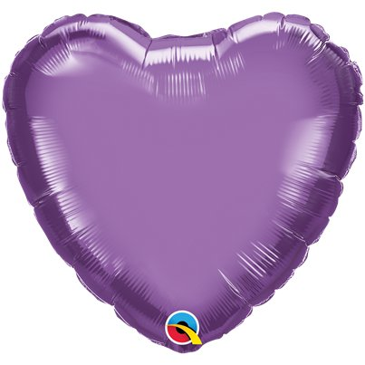 "Purple Chrome Heart Balloon - 18"" Foil - Unpackaged"