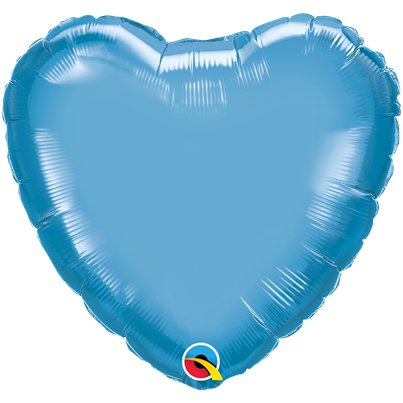 "Blue Chrome Heart Balloon - 18"" Foil - Unpackaged"