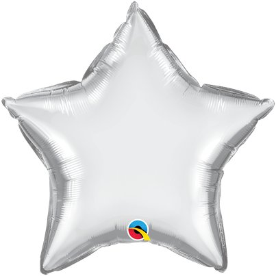"Silver Chrome Star Balloon - 20"" Foil - Unpackaged"
