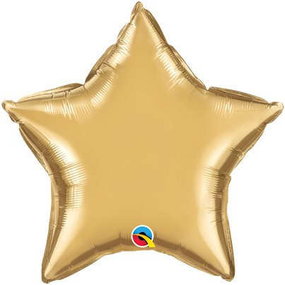 "Gold Chrome Star Balloon - 20"" Foil - Unpackaged"