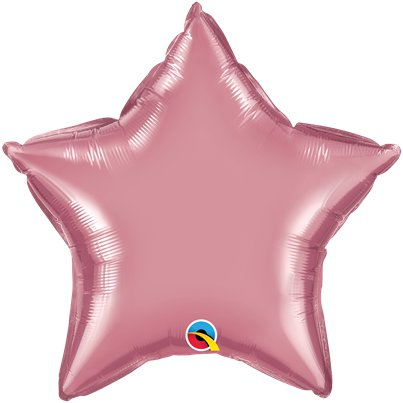"Mauve Chrome Star Balloon - 20"" Foil - Unpackaged"