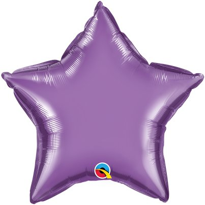 "Purple Chrome Star Balloon - 20"" Foil - Unpackaged"