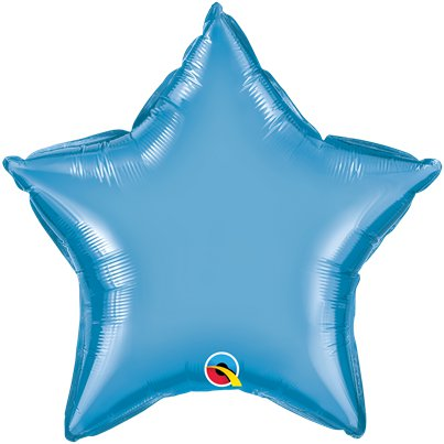 "Blue Chrome Star Balloon - 20"" Foil - Unpackaged"